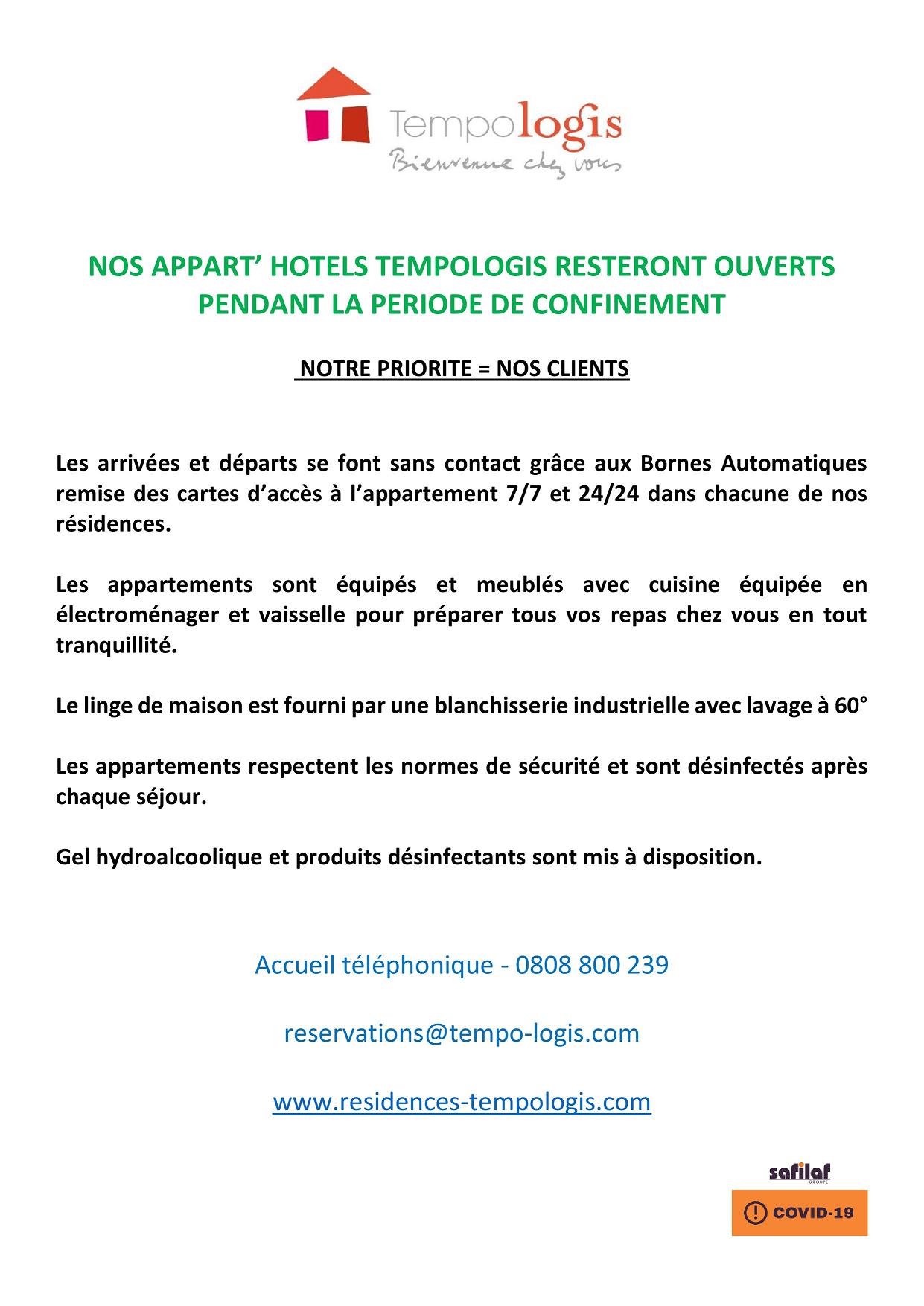 NOS APPART' HOTELS TEMPOLOGIS RESTERONT OUVERTS PENDANT LA PERIODE DE CONFINEMENT